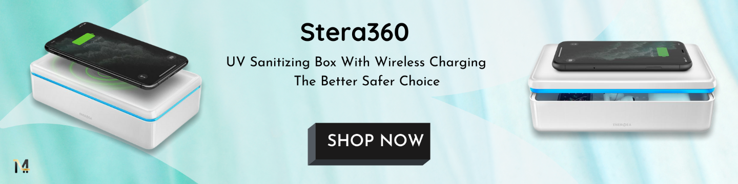 Energea Stera Uv Sanitizing Box With Wireless Charger Stera 360, UVC + UVA LED rapid sanitizing box with 15W fast wireless charging. Equipped with the fastest sanitization technology that eliminates up to 99.9% of surface bacteria and germs.
